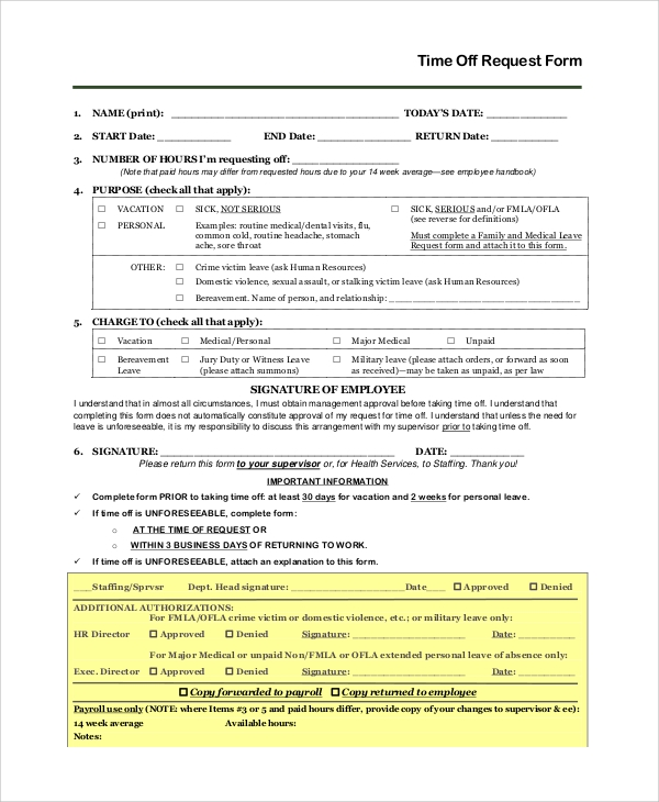 Sample Time Off Request Form 8 Examples in PDF Word – Sample Vacation Leave Form