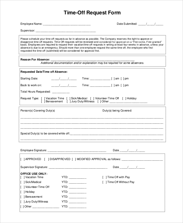 Vacation Time Request Form  CityEsporaCo