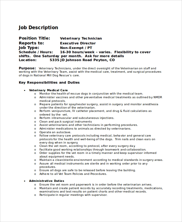 Sample Veterinarian Job Description - 8+ Examples In Pdf, Word