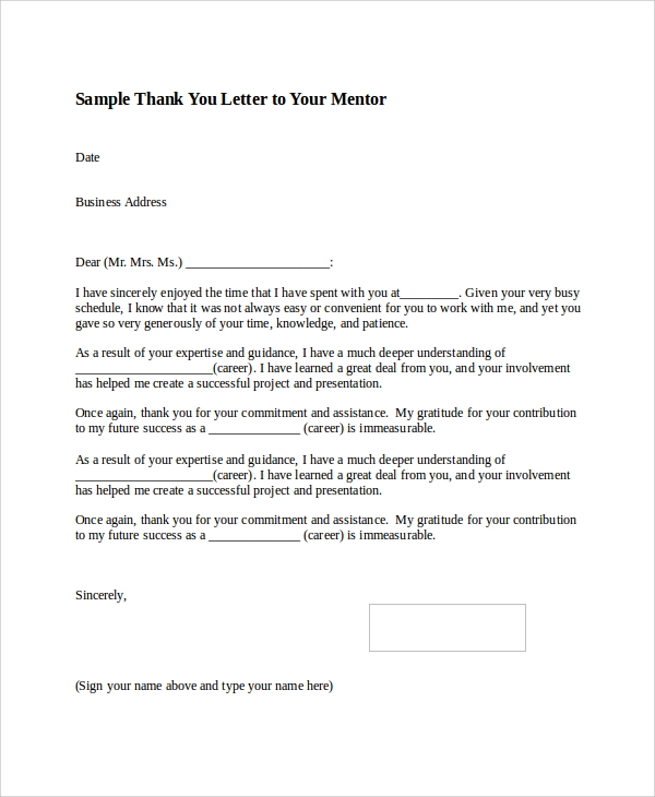 Thank You Letter Templates Pdf Word Printable Post Internship Thank
