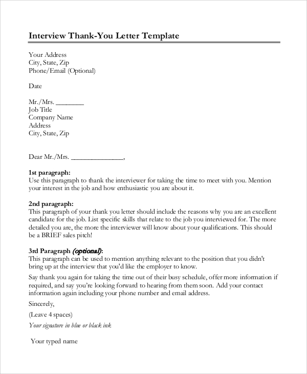 thank you letter after interview sample thank you letter format 8 examples in word pdf 11582 | Thank You Letter After Interview Format