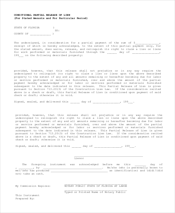 Sample Lien Release Form - 9+ Examples In Pdf, Word