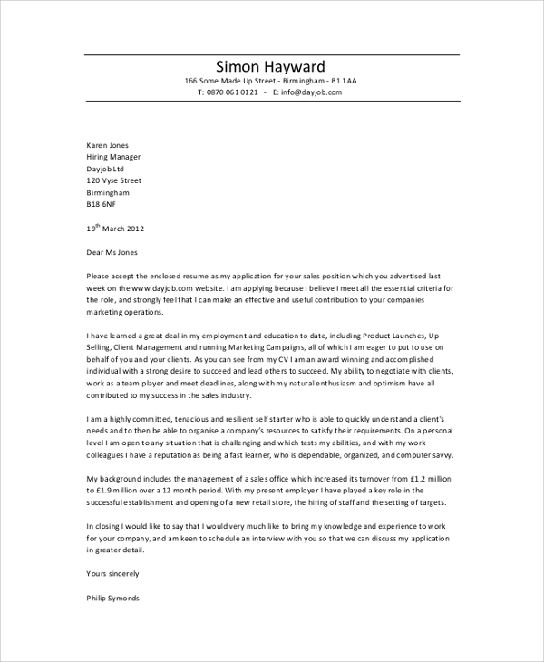 Sales Professional Cover Letter