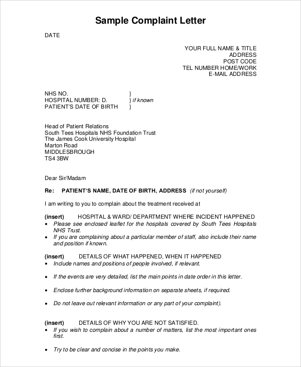 7 complaint letter examples sample templates for Complaint letter to landlord template
