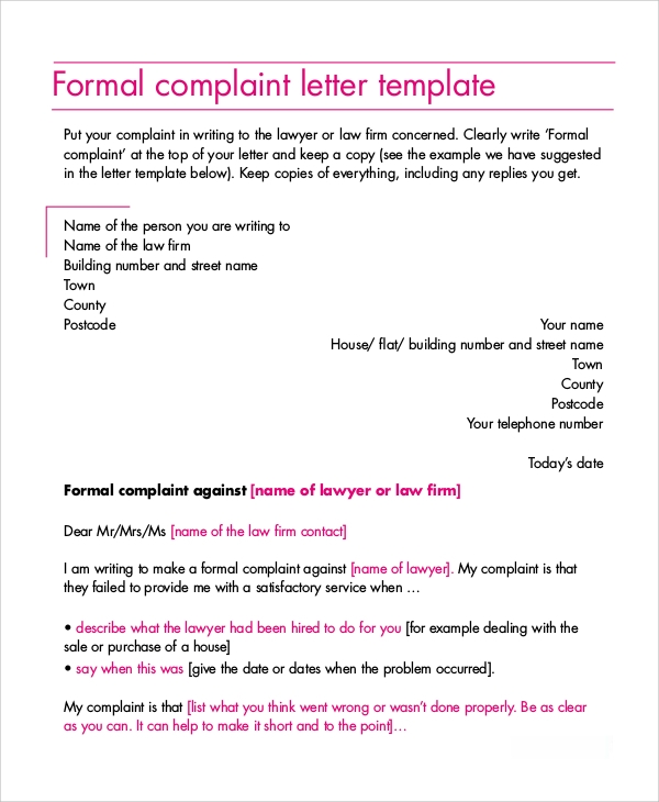 complaint letter example samples in word pdf formal complaint letter