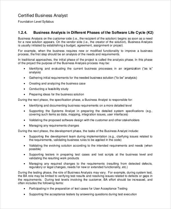 Sample Business Analysis 8 Examples in PDF Word – Business Analysis Report Example