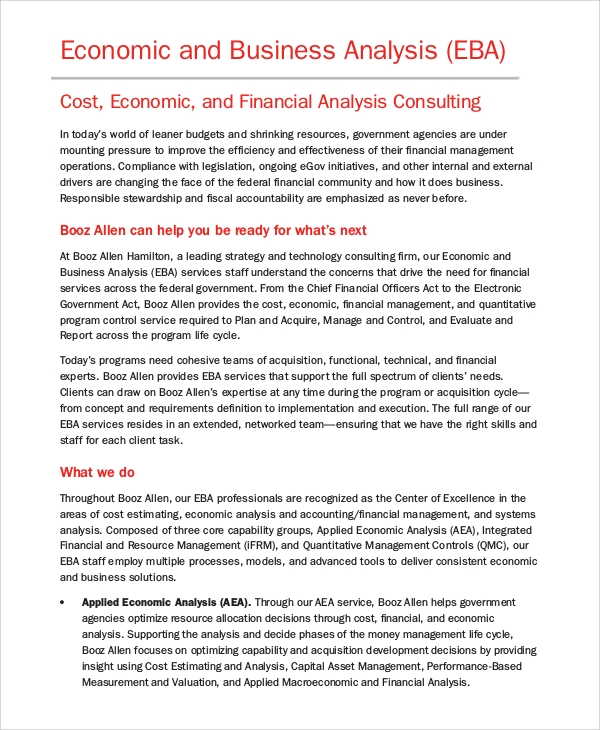 Economic And Business Analysis Format  Business Analysis Report Example