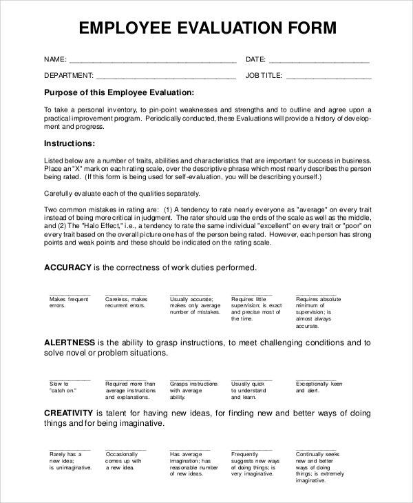 Employee-Evaluation-Form Examples Of Self Evaluation Form Samples on medical field, best employee, board member,