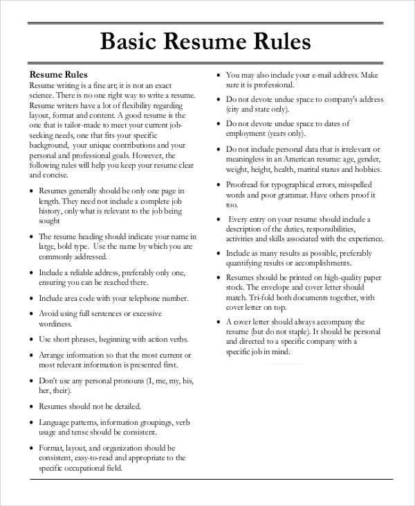 Basic Resume Sample - 8+ Examples In Pdf, Word