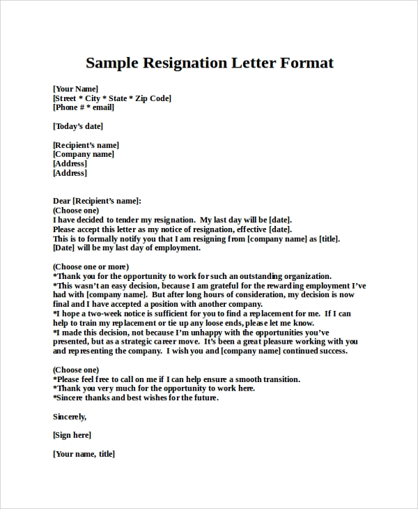 Resignation Letter Sample   Examples In Pdf Word