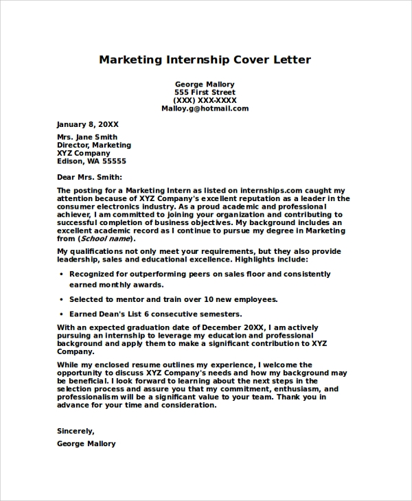 8+ Internship Cover Letters Samples, Examples, Templates | Sample ...