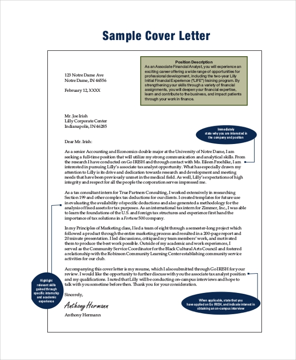 Finance Internship Cover Letter Example