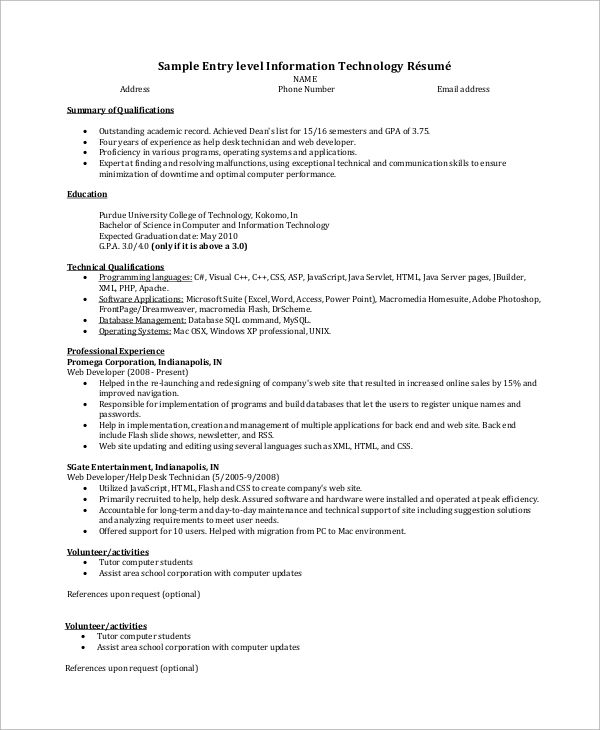 entry level it resume