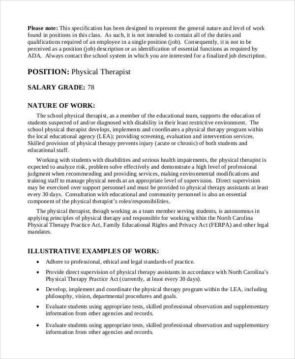 sample physical therapist job description - 9+ examples in pdf, word, Cephalic Vein