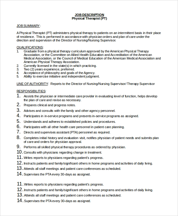 Sample Physical Therapist Job Description 9 Examples In