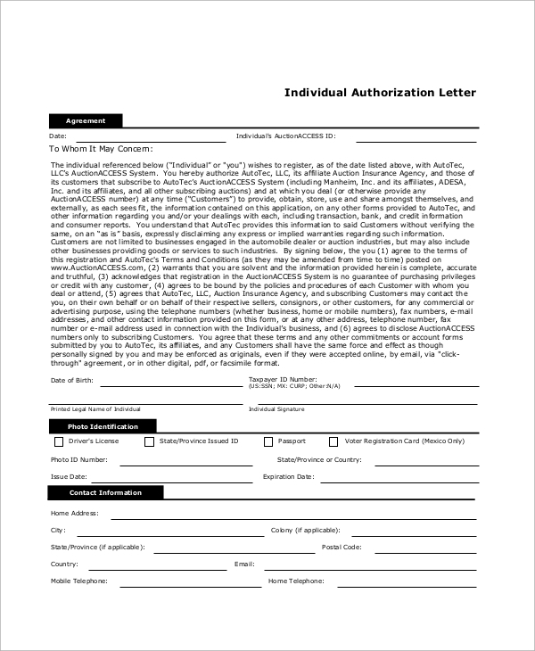 individual authorization letter