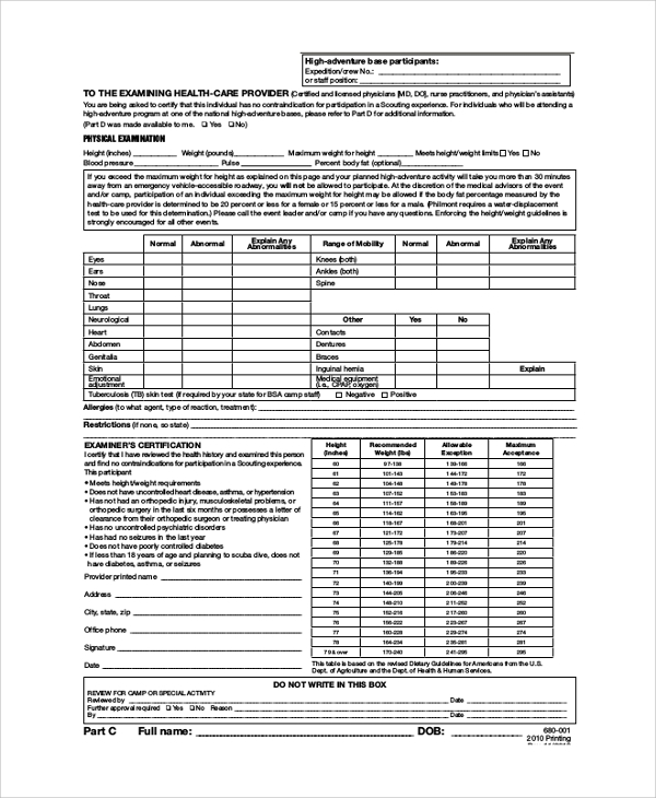 Sample Bsa Health Form   Examples In Pdf