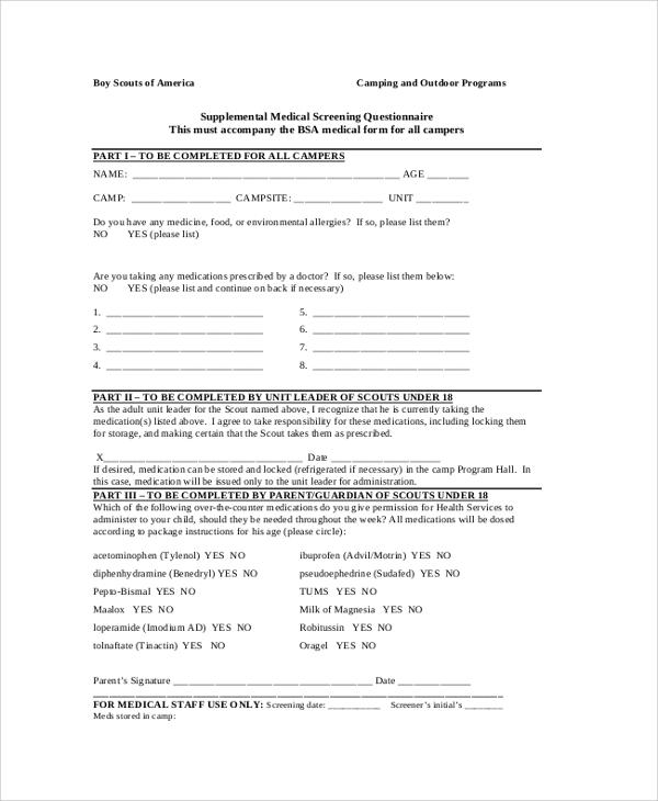 8+ Sample BSA Health Forms | Sample Templates