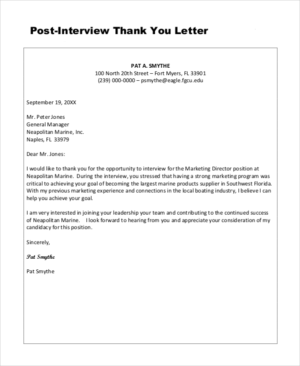 Sample Thank You Letter 7 Examples In Word Pdf