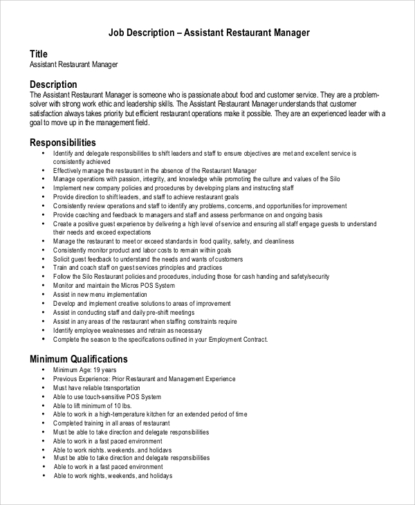 Sample Assistant Manager Job Description - 9+ Examples In Pdf, Word