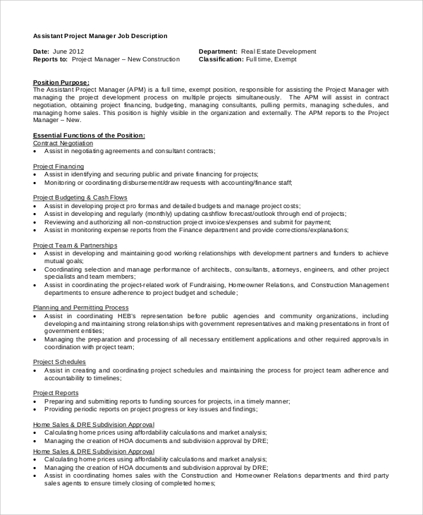 Sample Assistant Manager Job Description 9 Examples in PDF Word – Construction Manager Job Description