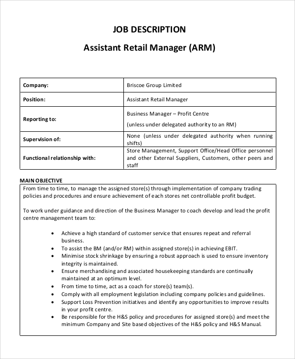 Sample Assistant Manager Job Description 9 Examples in PDF Word – Store Manager Job Description