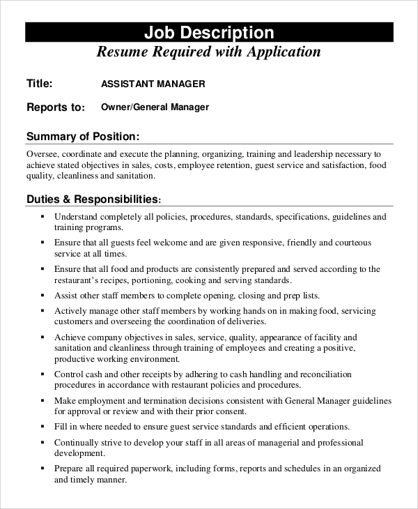 Sample Assistant Manager Job Description   Examples In Pdf Word