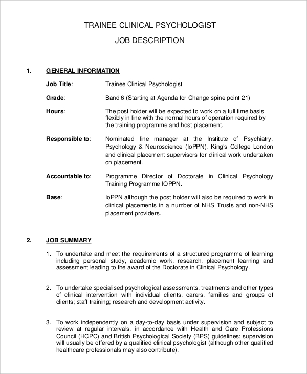 Sample Psychologist Job Description   Examples In Pdf