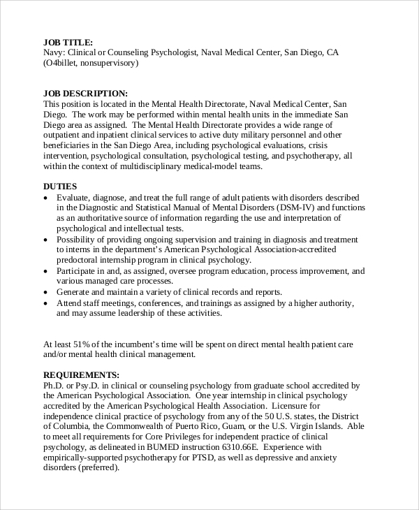 Sample Psychologist Job Description 7 Examples in PDF – Mental Health Counselor Job Description