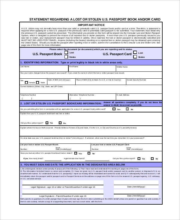 Sample Passport Application Form   Examples In Pdf