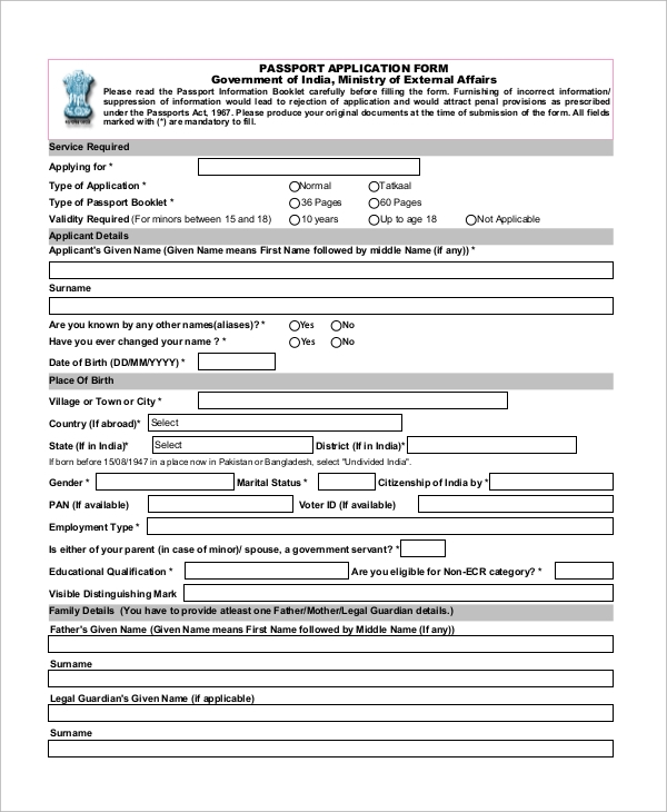 Sample Passport Application Form - 8+ Examples In Pdf