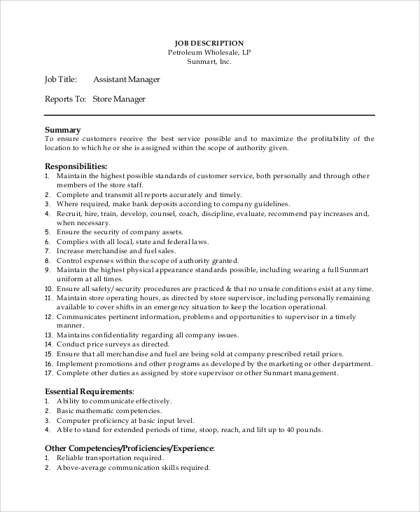 Sample Manager Job Description   Examples In Pdf Word