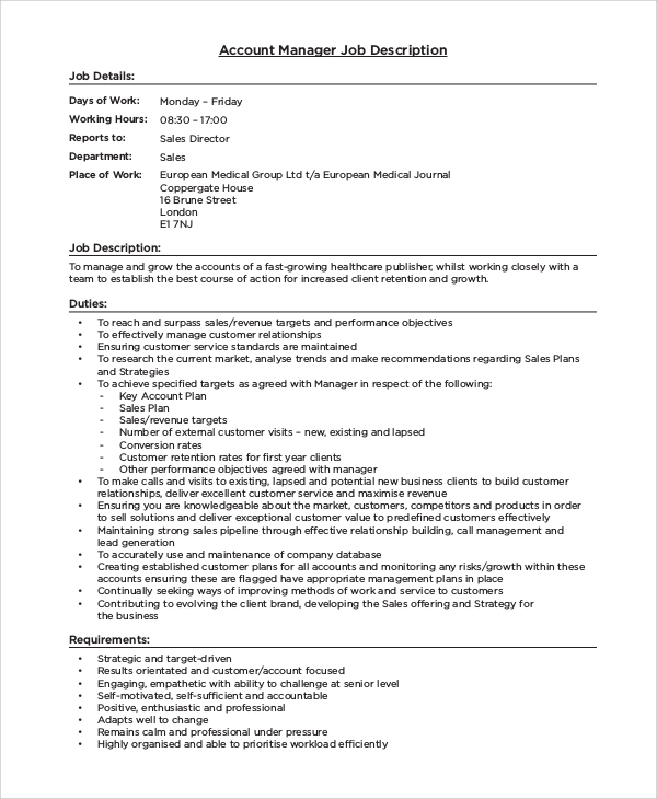 Sample Manager Job Description - 9+ Examples In Pdf, Word