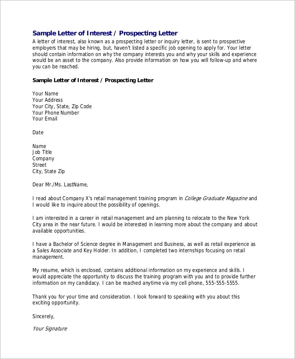 letter of interest template for a job 8 letter of interest samples sample templates