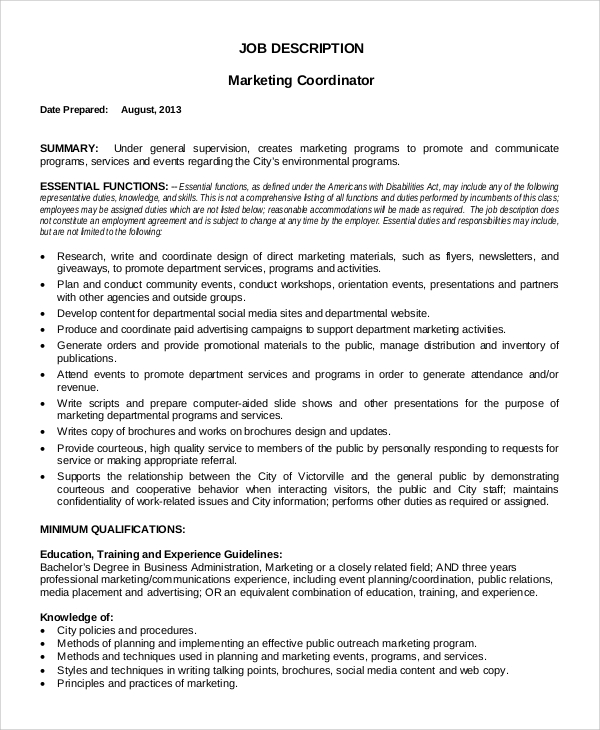 Sample Marketing Coordinator Job Description - 9+ Examples In Pdf