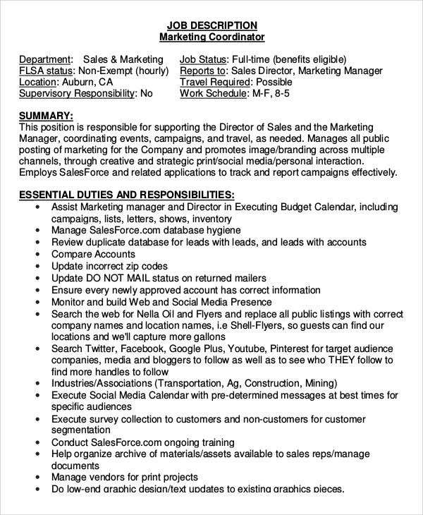 Sample Marketing Coordinator Job Description   Examples In Pdf