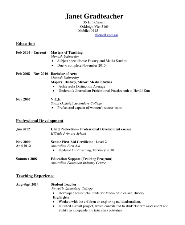 free 8  sample teaching resume templates in ms word