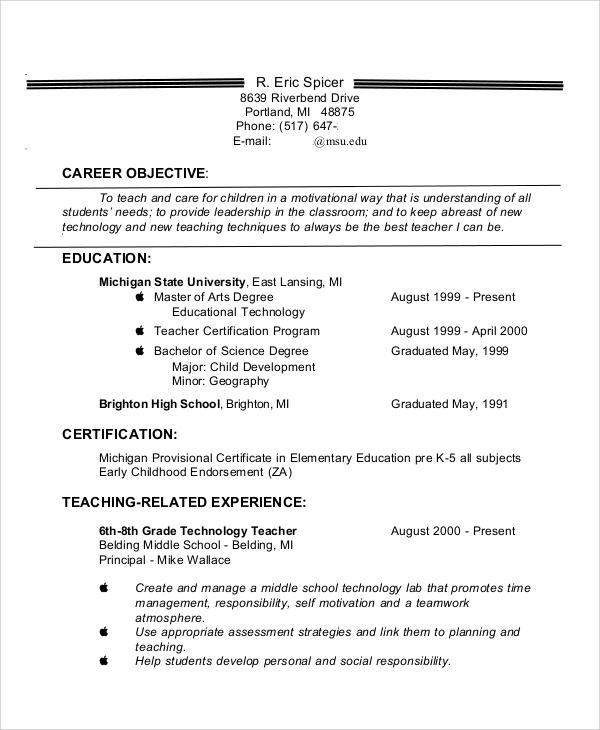 teaching resume objective