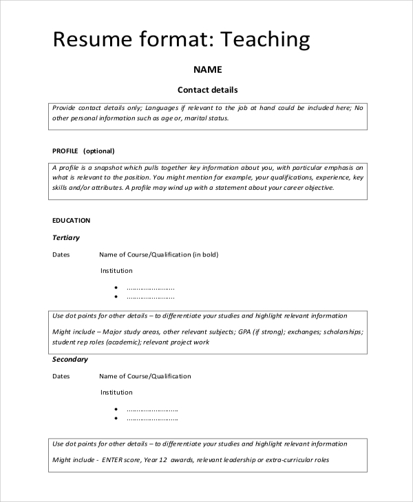 Sample Teaching Resume 8 Examples In Word Pdf