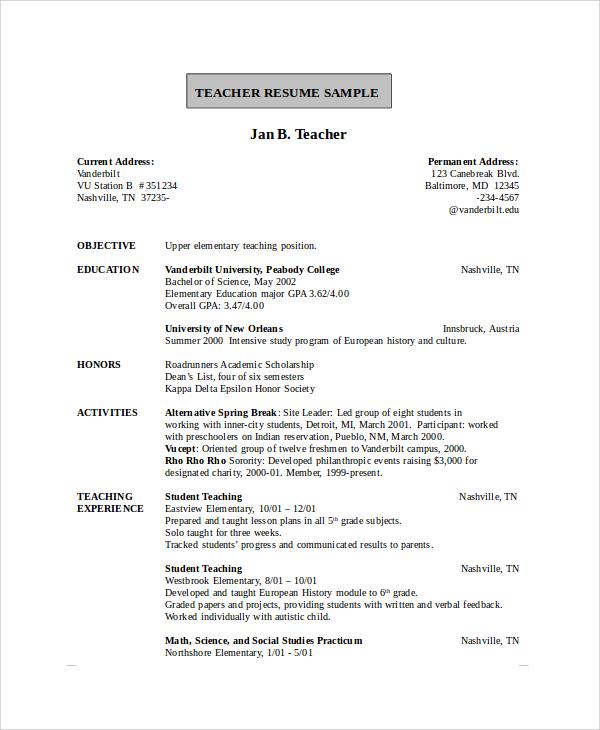 teaching resume example