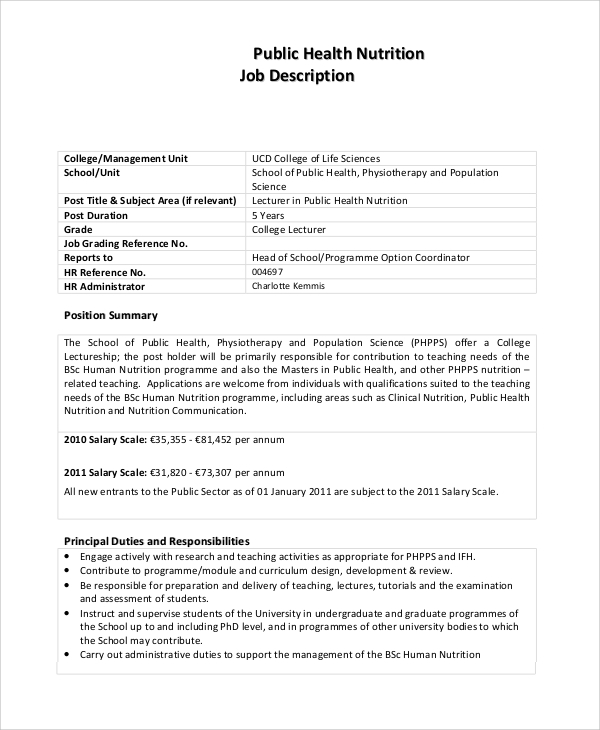 Sample Nutritionist Job Description   Examples In Pdf Word