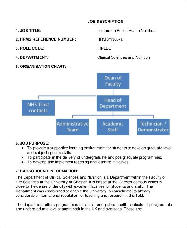 sample public health nutritionist job description