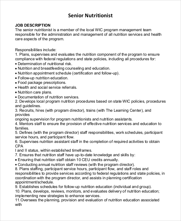 Sample Nutritionist Job Description - 9+ Examples In Pdf, Word