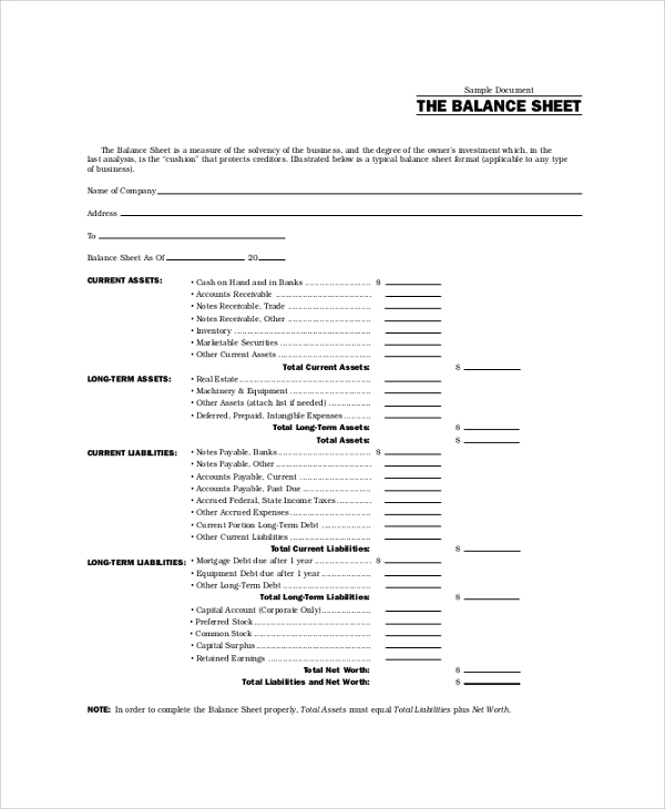 sample balance sheet example
