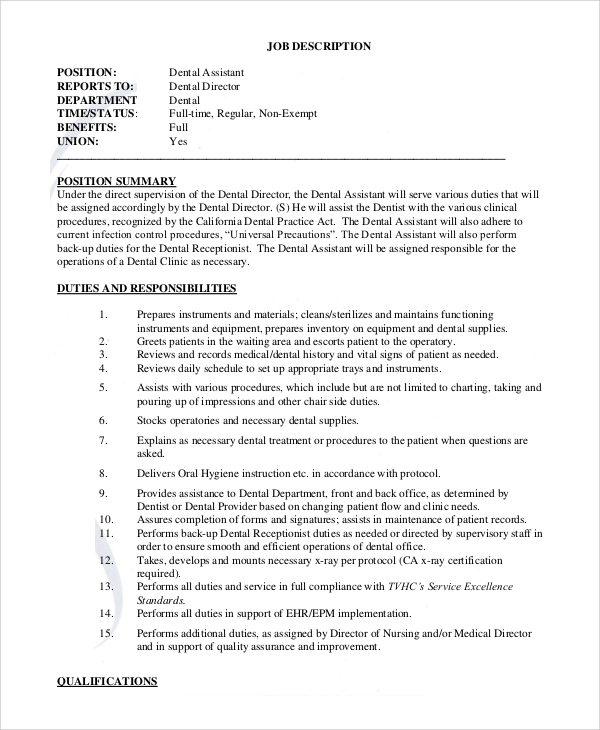 Sample Dental Assistant Job Description   Examples In Pdf Word