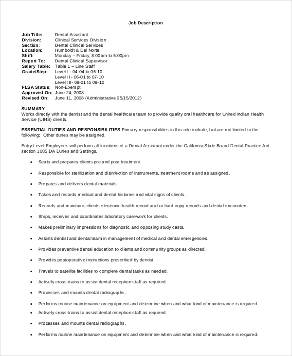 job description for dental assistant