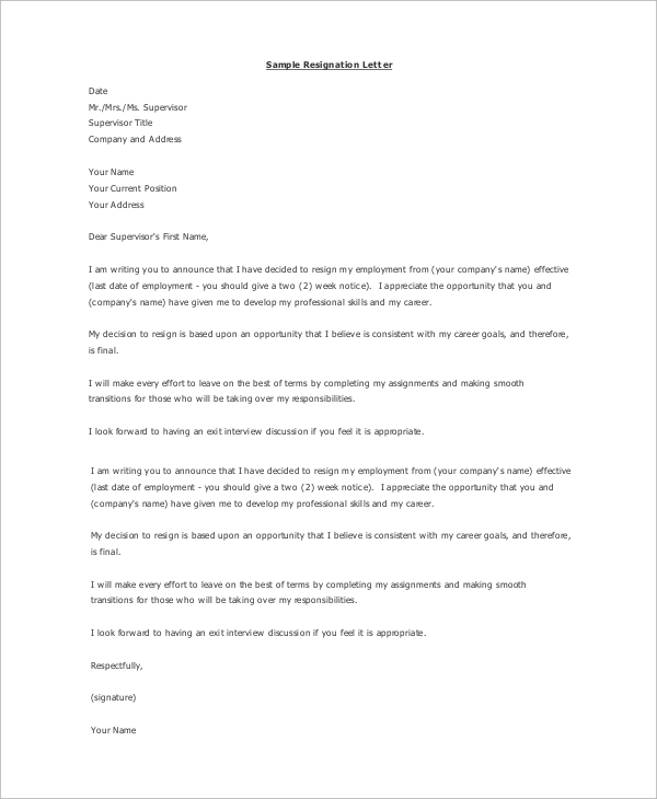 example professional resignation letter