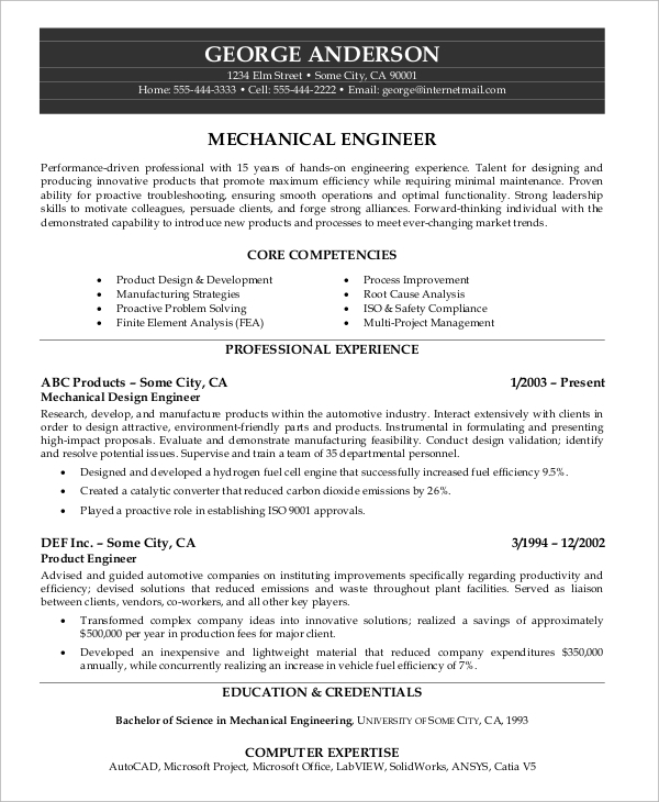 Sample Mechanical Engineering Resume  Sample Mechanical Engineering Resume