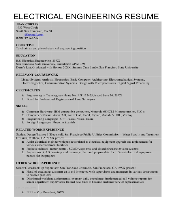 sample resume of an electrical engineer 8 sample engineering resumes sample templates
