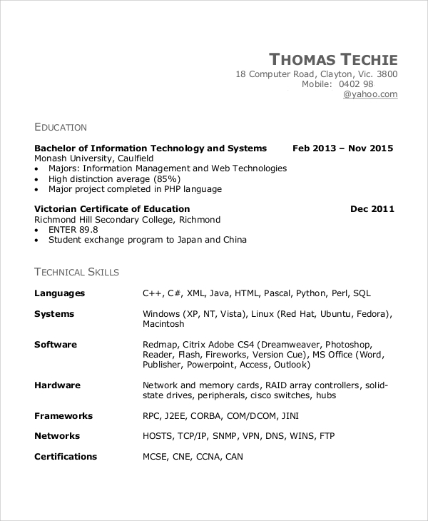 information technology engineering resume